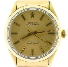 Rolex 14K Gold Shell Oyster Perpetual No-Date Watch Champagne w/Oyster Band 1024