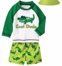 Gymboree Cool Dude Alligator Swimsuit & Rashguard Top Infant Boy 18-24 Months