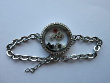 LOVE MY CAT PAW FISH KITTY SET LIVING MEMORY LOCKET FLOATING CHARMS BRACELET