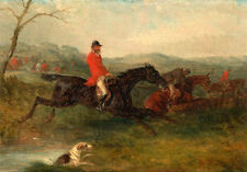 Art oil painting horseman hunter riding horse & Hounds jumping over the stream