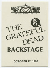 GRATEFUL DEAD Authentic RADIO CITY MUSIC HALL UNUSED Backstage Pass 10-22-1980