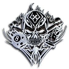 Skull Dice Number 8 Patch Iron On Biker Badge Sew Racing Tattoo MC Club Harley