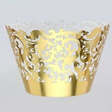 50pcs Gold Muffin Cup Cake Wrapper Case Trays Party Liner Decoration