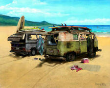 Surf Art ~ VW Vanagon Bus Van ~ window stickers, beach mat, blanket, towel