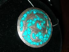 Vintage Sterling Silver Turquoise Brooch Pendant  ~ 925 TAXCO MARGOT?