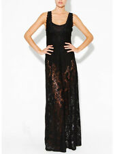 Somedays Lovin Dream State Black Stretch Lace Maxi Dress Body Splits M L 10 12