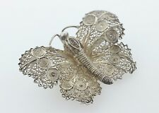 Vintage Sterling Silver 925 Intricate Filigree Butterfly Brooch Pin