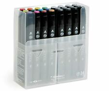 SHINHAN TOUCH TWIN DRAWING MARKERS - 24 COLOUR SET - TWIN TIP GRAPHIC ART PENS