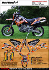 KTM LC 4  BAD BOY GRAPHICS KIT BY ENJOY MFG ENDURO GRAPHICS SUPER MOTO