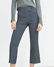 ZARA NAVY BLUE WHITE POLKA DOT TROUSERS SIZE XS