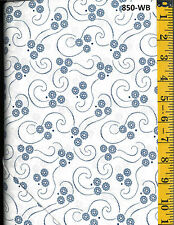Blue Tiny Flowers With Line Design Cotton Quilt Fabric P&B Textiles BTY 850-WB