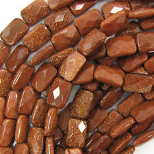 """14mm faceted goldstone rectangle beads 15.5"""" strand"""
