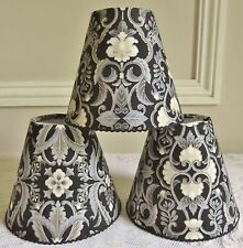 SUPERB ART NOUVEAU STYLE CANDLE LAMPSHADE BLACK SILVER IVORY 11 x 13 cm BDF MADE