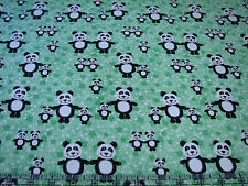 3 Yards Quilt Flannel Cotton Fabric - AE Nathan Pandas & Stars on Green