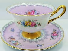 Vintage SHELLEY Fine Bone China CROCHET  TEA CUP SAUCER