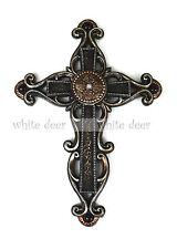 Western Style Wall Cross Brown Floral Carving Broken Glass Texture Rhinestone