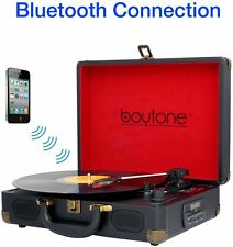 Boytone BT-101TBK Bluetooth Turntable Briefcase Record player AC-DC NEW