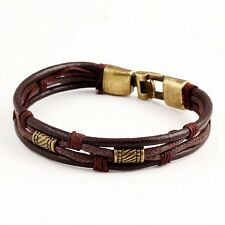 Mens Womens Braided Leather Surfer Wristband Bracelet Cuff Wrap Brown