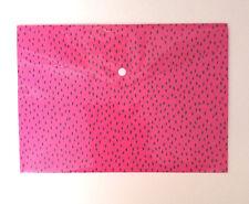 A4 PLASTIC BUTTON CLOSE WALLET Deep Hot Pink & Black DESIGN PVC STORAGE POUCH
