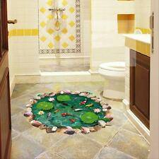 3D Lotus Fish Pond Art Wall Sticker Floor Mural Home Decor Living Room Wallpaper