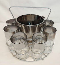 QUEENS LUSTERWARE 8 Cocktail Glasses & Ice Bucket SILVER Barware Set with Caddy