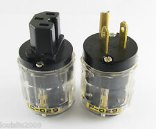 1Pair Transparent C-029 IEC Female Connector P-029 US Power Plug for Audio New