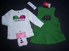 NWT Gymboree Merry & Bright 3-6 Months Elephant Jumper Dress Ivory Tee & Tights