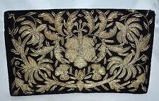 Vintage Black Velvet Gold Metallic Embroidered Flowered Clutch Purse Made India