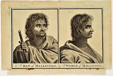 Antique print from Captain Cook's Voyages of a man and woman of Mallicolo.