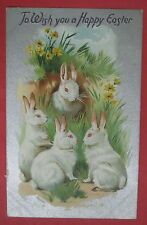 ANTIQUE TO WISH YOU A HAPPY EASTER TUCK'S POSTCARD-SERIES 701-BUNNY RABBITS
