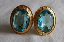 YSL Yves St Laurent Signed Haute Couture Runway Huge Faceted Aquamarine Earrings