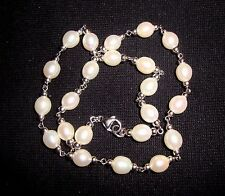 Honora 19 Creamy White 10x12mm Oval Pearls Sterling Silver Link Collar Necklace