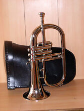 New High Quality Bb FLAT SILVER NICKEL FLUGEL HORN & Deluxe Hard Case+M/P