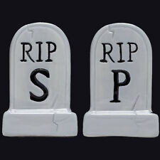 SOURPUSS CLOTHING TOMBSTONES SALT & PEPPER POTS. CEMETERY. HORROR. HALLOWEEN