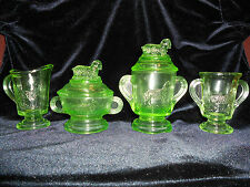 4 Green Vaseline glass Lamb table tea set child cookie jar pitcher sheep Uranium
