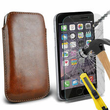 Brown PU Leather Pull Tab Case Pouch & Glass for Apple iPhone 6 Plus