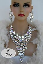 """DRAG QUEEN AB SILVER CRYSTAL NECKLACE SET 8""""DROP PAGEANT BRIDAL COCKTAIL STAGE"""