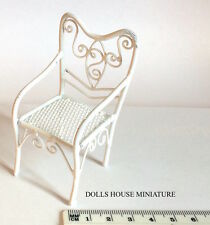 White Wire Garden Chair, Dollhouse Furniture Miniatures 1.12 Scale Seat