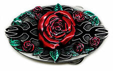 Red Roses Belt Buckle Gothic Themed Rose Flower Authentic Bulldog Buckle Co
