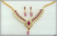 Indian Bollywood Designer Gold Pearls Pink Ethnic Jewelry Necklace Earrings Set