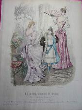"""70/ GRAVURE DE MODE """" Moniteur de la Mode Paris 1891 """".   Grand format 36x26"""