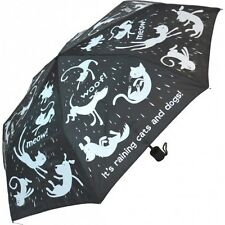 It's raining cats and dogs- Folding Umbrella- Black & white