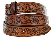 Western Embossed Tooled Belt Strap 1 1/2'' Wide, Brown Black