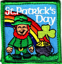 """ST. PATRICK'S DAY"" w/RAINBOW/Iron On Embroidered Patch, Celebration, Irish"