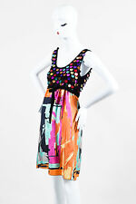 M Missoni Black Multicolored Crochet Knit and Silk Sequin Printed Dress SZ 6