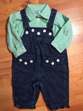 Gymboree / Chaps Girls Sz. 0-3 Months Denim Daisy Jumper Check Button Front Top