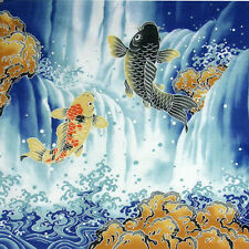 """FUROSHIKI 19.75"""" SQ LUCKY CARP PRINT WRAPPING CLOTH/WALL TAPESTRY/MADE IN JAPAN"""