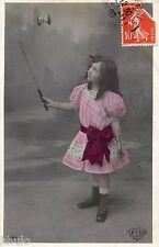 BL299 Carte Photo vintage card RPPC Enfant fantaisie jeux de diabolo jouet