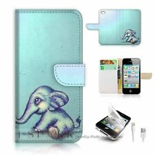 iPhone 5 5S Flip Wallet Case Cover! S8130 Elephant