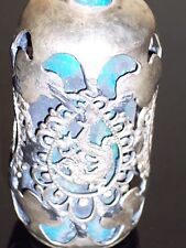Tibet silver dragon and phoenix turquoise snuff bottle